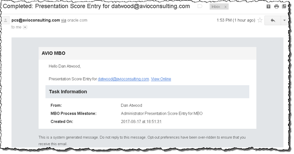 Human Activity completion email notification to the initiator of a process instance