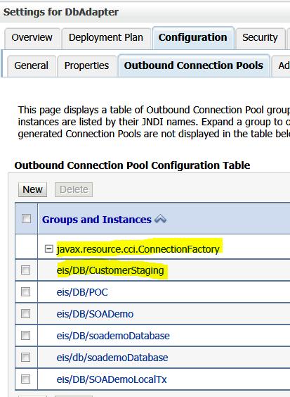 Select New Connection Pool JNDI