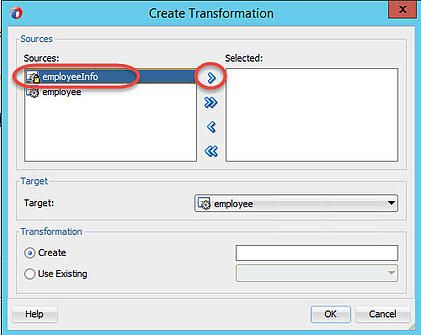Select employeeInfo for the XSL transformation to employee