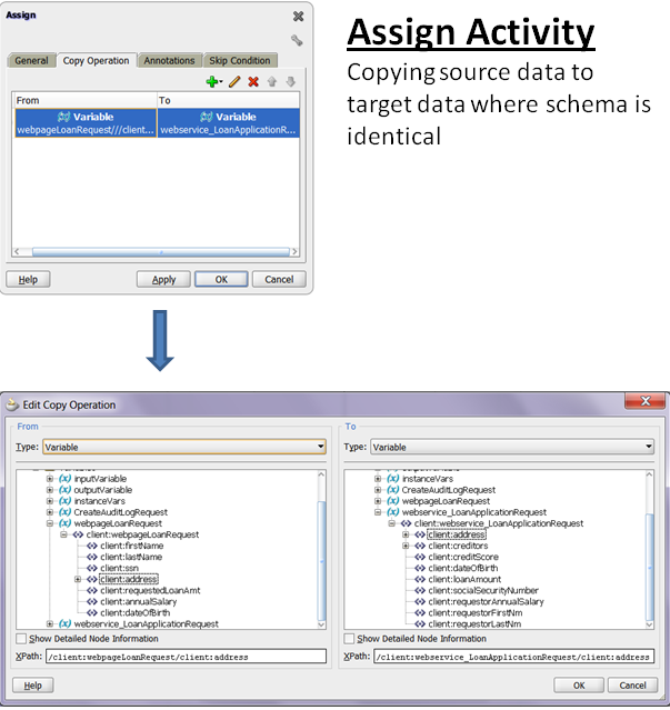 Example of using the Assign Activity to map data from identical source and target schemas