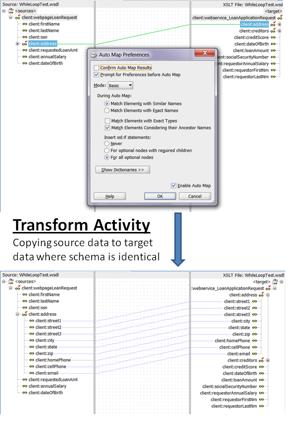 Example of using the Transform Activity to map data from identical source and target schemas