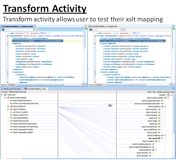 Example of how the transform activity allows developer to test an xslt mapping