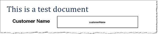sample PDF template with a label and field for the customer name