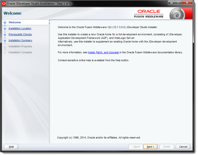 Oracle JDeveloper Studio Installation