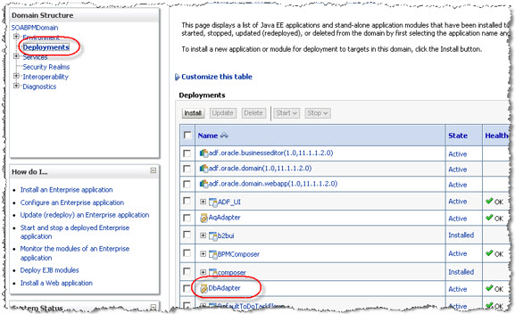 Database Adapter Deployment