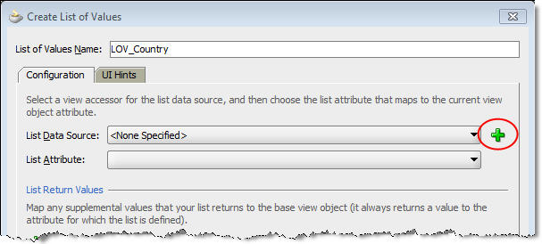 Click +beside the List Data Source dropdown.