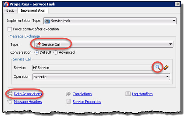 Select the Service and open the Data Associations dialog
