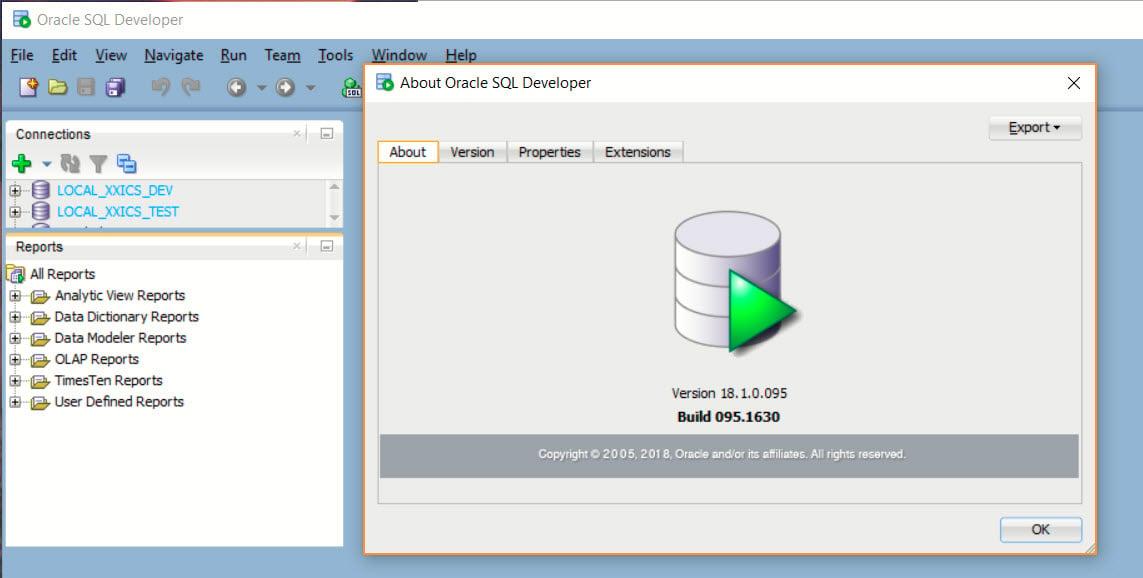 SQL Developer About
